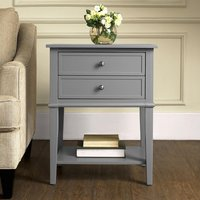 Product photograph showing Franklin Wooden 2 Drawers Side Table In Grey