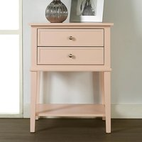 Product photograph showing Franklin Wooden 2 Drawers Side Table In Pink