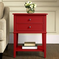 Product photograph showing Franklin Wooden 2 Drawers Side Table In Red