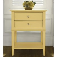 Product photograph showing Franklin Wooden 2 Drawers Side Table In Yellow