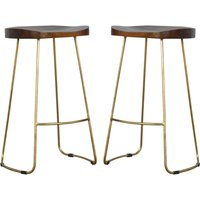 Frankston Chestnut Bar Stool With Gold Metal Legs In Pair