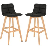 Product photograph showing Franza Black Faux Leather Bar Stools In Pair