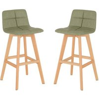 Product photograph showing Franza Green Faux Leather Bar Stools In Pair