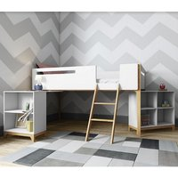 Product photograph showing Fremont Contemporary Wooden Cabin Bed In White