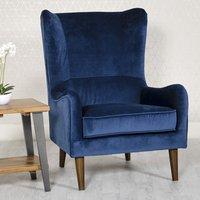 Freya Velvet Upholstered Lounge Chair In Blue