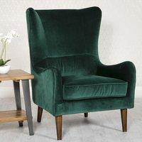 Freya Velvet Upholstered Lounge Chair In Green