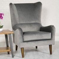 Freya Velvet Upholstered Lounge Chair In Grey