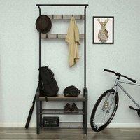 Frisco Coat Rack With Shoe Storage Bench In Rustic Brown
