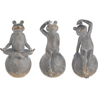 Product photograph showing Frog Freddie Poly Set Of 3 Design Sculpture In Grey