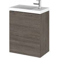 Product photograph showing Fuji 40cm Wall Hung Vanity Unit With Basin In Brown Grey Avola