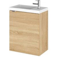 Product photograph showing Fuji 40cm Wall Hung Vanity Unit With Basin In Natural Oak