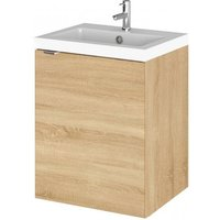 Product photograph showing Fuji 40cm Wall Vanity With Polymarble Basin In Natural Oak