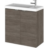 Product photograph showing Fuji 50cm Wall Hung Vanity Unit With Basin In Brown Grey Avola