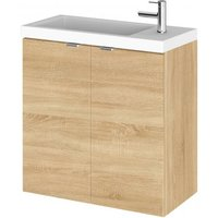 Product photograph showing Fuji 50cm Wall Hung Vanity Unit With Basin In Natural Oak