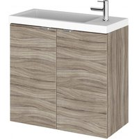 Product photograph showing Fuji 60cm Wall Hung Vanity Unit With Basin In Driftwood