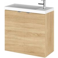 Product photograph showing Fuji 60cm Wall Hung Vanity Unit With Basin In Natural Oak