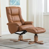 Product photograph showing Fula Plush Swivel Recliner Chair And Footstool In Tan