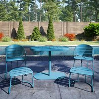 Cosco Steel Set Of 5 Patio Bistro Set In Turquoise