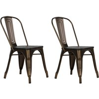 Product photograph showing Fusion Antique Bronze Metal Dining Chairs In Pair