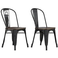 Fusion Black Metal Dining Chairs With Wood Seat In Pair