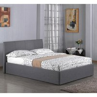 Fusion Linen Fabric Storage Double Bed In Grey