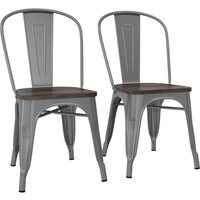 Product photograph showing Fusion Silver Metal Dining Chairs In Pair