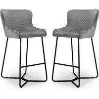 Product photograph showing Gala Grey Brushed Velvet Bar Stools In Pair