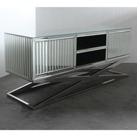 Product photograph showing Gala Mirrored Wooden Tv Stand In Silver