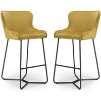 Product photograph showing Gala Mustard Brushed Velvet Bar Stools In Pair