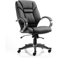 image-Galloway Leather Executive Office Chair In Black With Arms