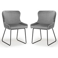 Product photograph showing Galway Grey Brushed Velvet Dining Chairs In Pair