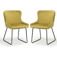 Product photograph showing Galway Mustard Brushed Velvet Dining Chairs In Pair