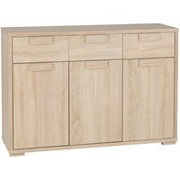 Product photograph showing Gambon Wooden 3 Doors 3 Drawers Sideboard In Light Sonoma Oak
