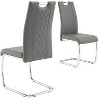 Product photograph showing Garbo Grey Faux Leather Dining Chairs In Pair
