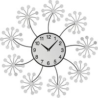 Product photograph showing Gatosta Mirrored Floret Wall Clock In Black And Silver