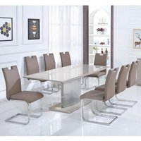 Gemma Glass Extendable Dining Set In Gloss Champagne 6