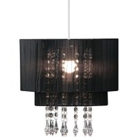 Product photograph showing Gemosta Fabric Shade Acrylic Beads Pendant Light In Black