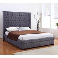 Genesis Linen Fabric Double Bed In Dark Grey