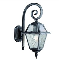 Genoa Outdoor Wall Light In Black And Silver With Lead Glass