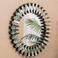 Product photograph showing Genova Designer Round Wall Mirror