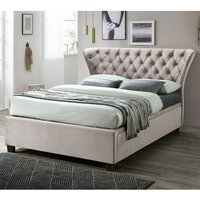 Product photograph showing Georgia Ottoman Fabric King Size Bed In Champagne