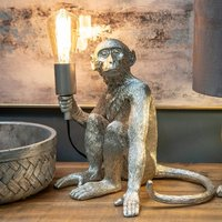 Product photograph showing Georgia Resin Monkey Table Lamp In Antique Silver
