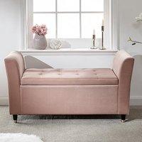 Gettysburg Fabric Storage Hallway Bench In Blush Pink