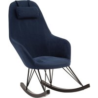 Product photograph showing Giausar Fabric Upholstered Rocking Chair In Blue