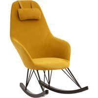 Product photograph showing Giausar Fabric Upholstered Rocking Chair In Yellow