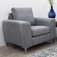 Product photograph showing Gibson Fabric Upholstered Armchair In Grey