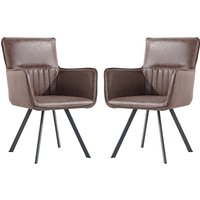 Product photograph showing Gilbert Brown Faux Leather Carver Dining Chairs In Pair