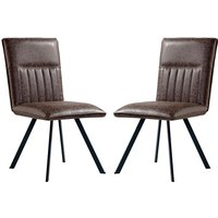 Product photograph showing Gilbert Brown Faux Leather Dining Chairs In Pair