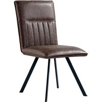 Product photograph showing Gilbert Faux Leather Dining Chair In Brown