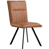 Product photograph showing Gilbert Faux Leather Dining Chair In Tan